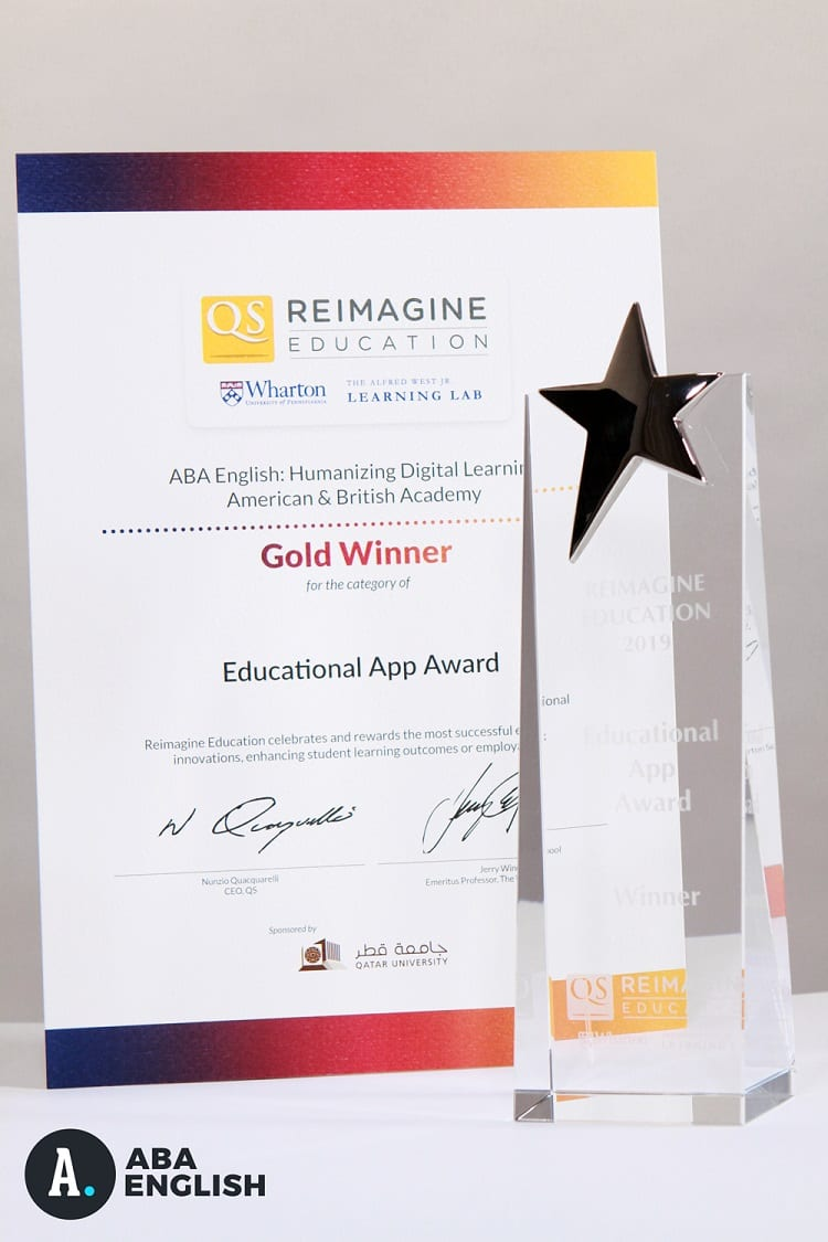 """ABA English is awarded Best Educational App 2018-2019 at the """"Oscars of Education"""""""