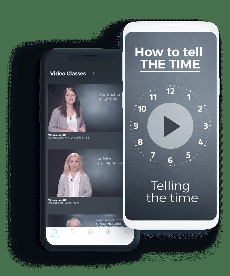 Exemplo das videoaulas de gramática do curso intensivo de inglês online da ABA English no app em um celular.