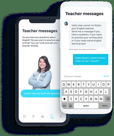 Exemplo de uma conversa entre professor e aluno no bate-papo do app do curso de inglês da ABA English em um celular.